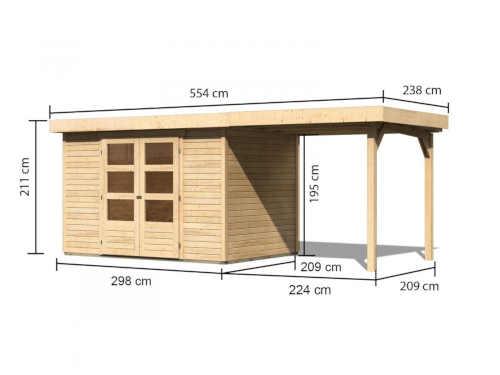 Drevený domček do záhrady s prístavbou