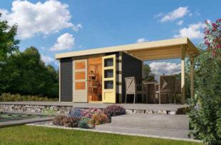 Drevený záhradný domček s prístavbou