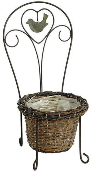 Prútený obal na kvetináč s kovovou konštrukciou