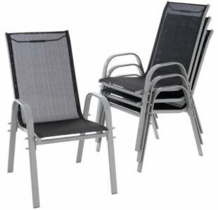Súprava štyroch stoličiek s vysokým operadlom na terasu,