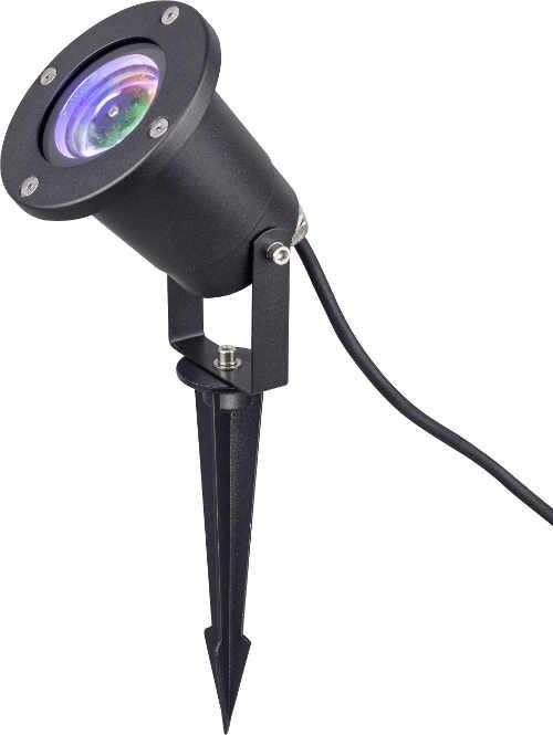 Záhradný vianočný LED projektor osvetľujúci terasu domu