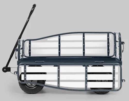 Záhradný vozík s veľkými kolesami a otváracími bočnicami