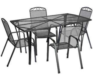 Kovový záhradný nábytok s veľkým obdĺžnikovým stolom