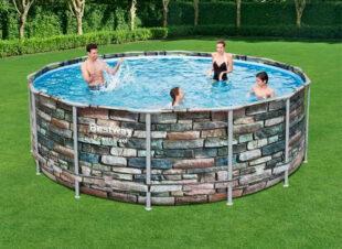 Pôvodný záhradný bazén Bestway Stone 4,27 x 1,22 m kamenná stena