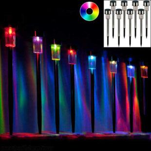 Sada 8 viacfarebných solárnych LED lámp z nehrdzavejúcej ocele