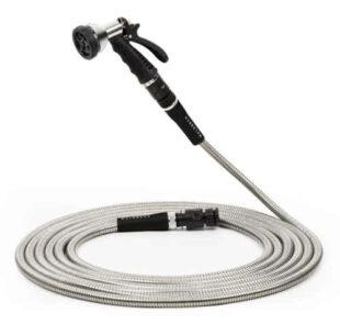Waldbeck Steelflow 50 flexibilná oceľová záhradná hadica so sprchovou hadicou